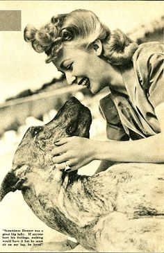 0 carole landis with her great dane donner