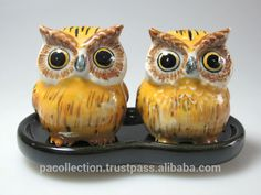 Porcelain Miniature Craft Collectible Ceramic Yellow Owls S&p Salt ...