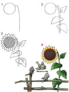 gunebakan-aycicegi-nasil-cizilir Art Drawings For Kids, Pencil Art Drawings, Doodle Drawings, Drawing For Kids, Doodle Art, Easy Drawings, Beautiful Rose Drawing, Rose Drawing Simple, Flower Drawing Tutorials