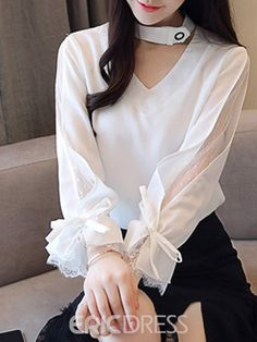 Ericdress Bowknot V-Neck Standard Long Sleeve Blouse Ericdress Bowknot V-Ausschnitt Standard Langarm Bluse Kurta Designs, Blouse Designs, Kurti Sleeves Design, Sleeves Designs For Dresses, Sleeve Designs, Hijab Fashion, Korean Fashion, Fashion Dresses, Stylish Dresses For Girls