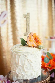 Cake from a First Birthday Garden Party via Kara's Party Ideas