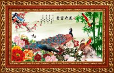 Pomposo Peony and Multicolored Peacocks Chinese Style Wall Mural, 8-Feet 1-Inch By 5-Feet 2-Inch - Amazon.com