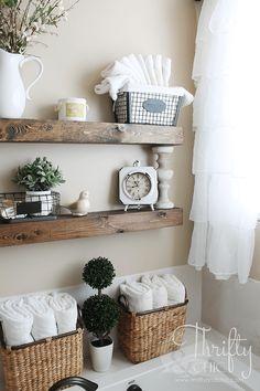 Wood and Wicker Bathroom Organizing System