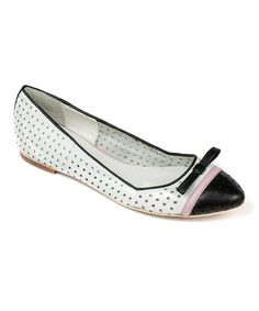 Another great find on #zulily! White & Black Opal Leather Flat by OBSESSION RULES #zulilyfinds