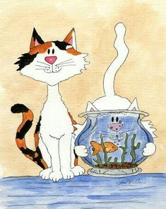 Cat Cards, Cat Colors, Animation, Cat Drawing, Illustrations, Animal Paintings, Crazy Cats, Cool Cats, Animals And Pets