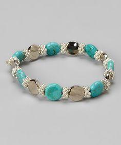 Look at this #zulilyfind! Turquoise & Silver Coin Bead Bracelet by Pavcus Designs #zulilyfinds