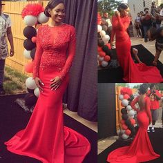 Gorgeous Red Lace Full Sleeve Mermaid Prom Dresses Party Evening Gown