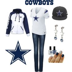 Dallas Cowboys Nike Fashion V-Neck Top and  Logo Crystal Earrings