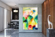 Wall painting tips can help DIYers get quality results. How to Paint a Room! Large Abstract Wall Art, Large Canvas Art, Large Wall Art, Canvas Wall Art, Large Art, Oversized Canvas Art, Oil Canvas, Bright Paintings, Abstract Paintings