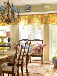 Dining Room , French Country Dining Room Decorating Ideas : French Country Dining Room Ideas With Chandelier With Blue Shades And Wooden Furniture And Loveseat And Floral Valance For The Windoe And Decorative Plates