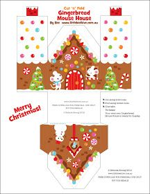 FREE printable - 3 gingerbread house designs.  Package idea for little treats/gifts