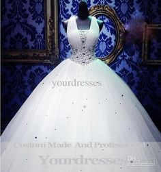 Wholesale 2013 Cinderella Royal Puffy White Straps Corset Ball Gown Wedding Dresses With Crystal Organza, Free shipping, $215.91/Piece | DHgate