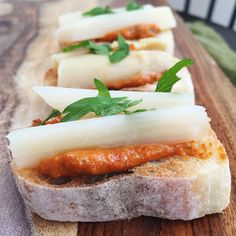 White asparagus D.O. Navarre with romesco sauce pintxo. A great combination of flavors. The recipe for romesco sauce is on our blog.