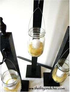 Hanging Mason Jars ~ Cute for front porch or evening get-togther! {Maybe 'DIY' with repurposed table spindle legs?!}