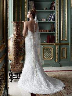 Low back. Available at Elegant Bridals, Augusta GA