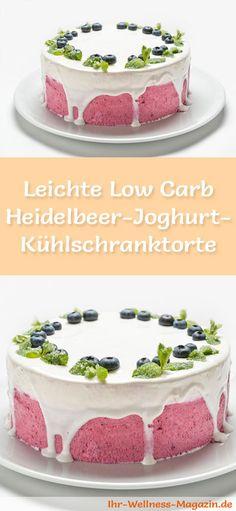 Rezept für eine leichte Low Carb Heidelbeer-Joghurt-Torte: Die kalorienreduzierte Kühlschranktorte wird ohne Zucker und Getreidemehl und ohne zu backen zubereitet