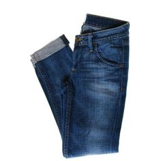 Hudson NEW Bacara Straight Cuffed Blue Cropped Jeans Ultra-Low Rise Sand Wash 25