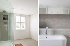 Contemporary bathroom with blue limestone tile www.architectureforlondon.com