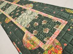 Spring Asian Inspired Quilted Table Runner by MoonDanceTextiles