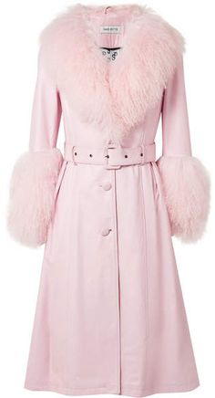 98c42ddcc Saks Potts - Foxy Shearling-trimmed Leather Coat - Baby pink Roupa De Frio,