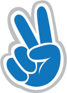 Blue hand with peace sign