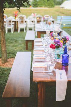 farm wedding, photo by Paper Antler http://ruffledblog.com/jackson-meadow-wedding #tablescapes #farmtables #reception