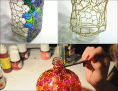 looks like stained glass, paint the glass with metal colored pain then use glass paint to make it look like stained glass art. by dorothea Glass Bottle Crafts, Wine Bottle Art, Painted Wine Bottles, Diy Bottle, Painted Wine Glasses, Mosaic Glass, Glass Art, Glass Painting Designs, Stained Glass Paint