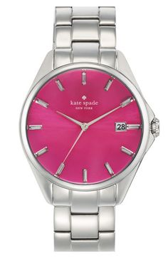 I need this more than food....kate spade new york 'seaport grand' bracelet watch | Nordstrom
