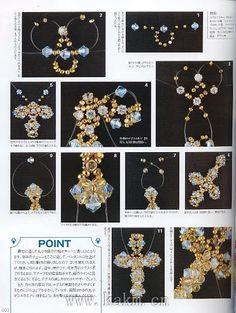 手工串珠教程 水晶串珠材料 DIY教程-y - tunino - Picasa Web Albums This web site has a lot of patterns confusing to find find the button alblum Beading Patterns Free, Beaded Jewelry Patterns, Beading Tutorials, Beaded Cross, Beading Techniques, Beaded Ornaments, Beads And Wire, Loom Beading, Artisanal
