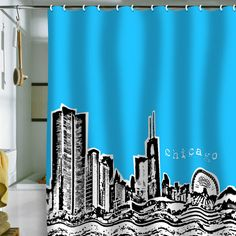 DENY Designs Home Accessories   Bird Ave Chicago Blue Shower Curtain