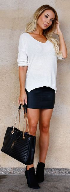 Kissies Black Leather Skirt Outfit Inspo