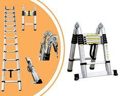 Leogreen - Escabeau échelle 2 en 1 - Échelle télescopique 3.80 mètres en aluminium Pliable avec barre stabilisatrice - Norme EN131 -…