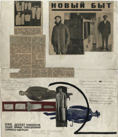 """Collage, pencil, ink, and pasted material (a newspaper clipping """"The New Everyday Life"""", with a photo showing Tatlin with clothing designed by him"""