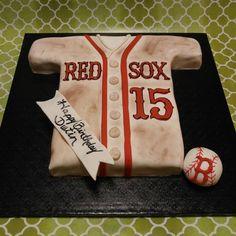 Boston Red Sox inspired birthday cake Baseball Birthday Cakes, 50th Birthday Party, Baseball Party, Red Sox Cake, Oreo Cake, Specialty Cakes, Boston Red Sox, Cake Creations, Themed Cakes