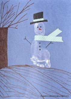 Footprint Snowman Craft for Kids by FSPDT by kathy