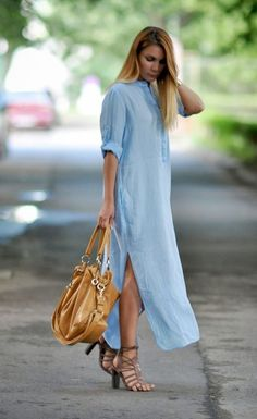 Zara Blue #Maxi Shirt Dress and Brown #Handbag