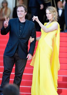 """(L-R) Quentin Tarantino and Uma Thurman attend the """"Clouds Of Sils Maria"""" premiere during the 67th Annual Cannes Film Festival on May 23, 20..."""