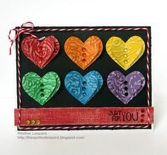 Just For You Embossed Heart Card by Heather Leopard (Core'dinations cardstock)