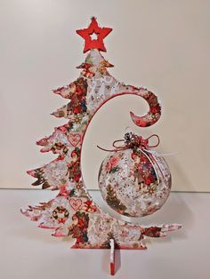 Wooden Christmas tree/ball hanger by Thoulie on Etsy
