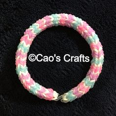 Loom Bracelet - Glow in the Dark Quadfish Blue Purple Pink  (similar to Hexafish) on Etsy, $4.00