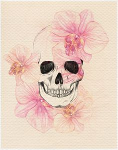 skull with orchids...I want something similar to this on my forearm...maybe with the water color theme though ;)