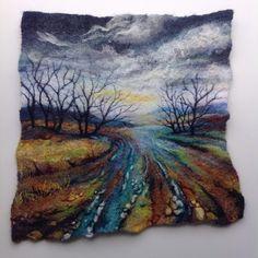 Fern Hill by roslyn Wet Felting Projects, Needle Felting Tutorials, Needle Felted, Nuno Felting, Felted Wool, Landscape Quilts, Landscape Art, Felt Wall Hanging, Felt Pictures
