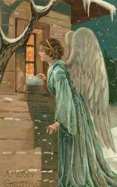 .Christmas angel victorian, looking in the window