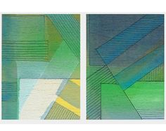 Geometric art Abstract paintings Set of 2 Aceo by catchaleaf