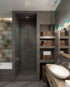 Example of a walk-in shower and bath in a small bathroom - Dekoration