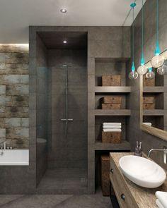 Example of a walk-in shower and bath in a small bathroom - Dekoration Bathroom Toilets, Bathroom Sets, Bathroom Storage, Small Bathroom, Bathroom Cabinets, Master Bathroom, Master Baths, Vanity Bathroom, Basement Bathroom