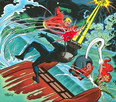 The masterful Jim Aparo does his intense Aquaman Family for the DC Comics 1977 Calendar!