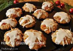 These Holiday Glazed jumbles Cookies are overflowing with candied fruit and golden raisins laced with brandy, along with toasted almonds, giving them a jumbled appearance. Christmas Desserts, Christmas Baking, Holiday Baking, Christmas Cookies, No Bake Cookies, Cookies Et Biscuits, Santa Cookies, Brownie Recipes, Cookie Recipes