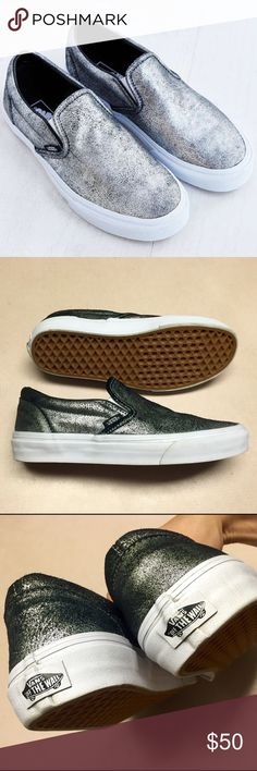 Unisex Vans silver metallic slip-on's Unisex Silver metallic leather Vans slip on's WOMENS SIZE 8.5 MENS SIZE 7 - no signs of ware and no box Vans Shoes Sneakers