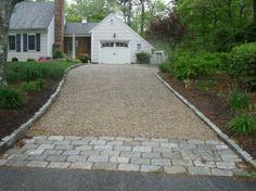 Chip seal drive with cobblestone curb and granite apron